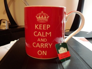 Mug labelled Keep Calm and Carry On