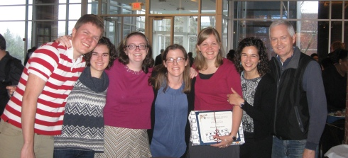 With the support of family, friends and mentors, I receive an award for living out Macalester's 4 pillars
