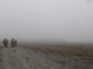 Walking through a cloud on Kili