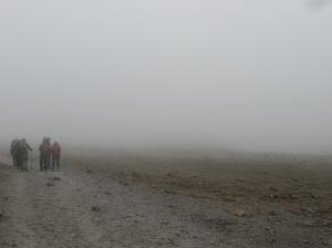 Walking through a cloud on Kili