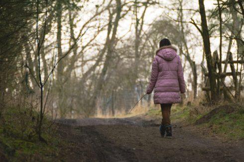 lonely woman walking