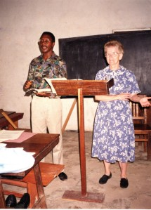 1995-11 -- with translator Unity in Mwanza, TZ